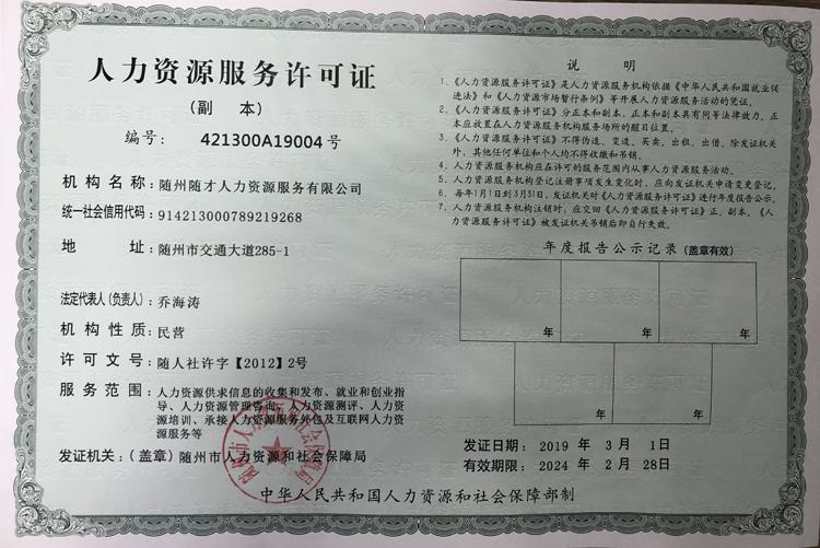 2019随才人力资源服务许可证副本